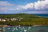 Puerto Rico, East Coast, Las Croabas, elevated view of Las Croabas Bay.