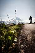Cyclist on mountain pass, Eiger and Moench in the background, Bussalp, Bernese Oberland, Switzerland