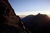 Sonnenaufgang, Aufstieg zum Habicht (3277 m), Stubaier Alpen, Tirol, Österreich
