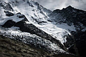 Glacier in mountain landscape, Mont Blanc Mountain Massif, Graian Alps, France