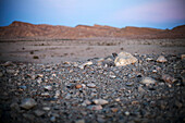 Evening atmosphere and rocks in the desert, Machtesch Ramon, Negev Desert, Israel