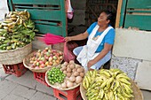 Nicaragua, Managua, Mercado Roberto Huembes, market, shopping, marketplace, vendor, stall, fresh produce, farming, agriculture, fruits, mango, lime, mamey sapote, banana, plantain, basket, Hispanic, woman, middle age, worker, apron, sitting,