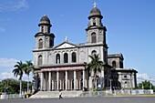Nicaragua, Managua, Santiago of Managua Cathedral, landmark, Catholic, church, religion, ruin, earthquake damage, tower, dome, cross, facade, fence, plaza, palm tree,
