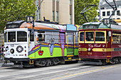 Australia, Victoria, Melbourne, Central Business District, CBD, Spring Street, City Circle Tram, trolley, public transportation, historic.