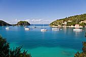 Lakka, Paxos, Greece, harbour, harbor, yachts, anchored, bay, boats, holiday, Ionian, Ionian Sea, islands, Greek, island, EU, Europe, European