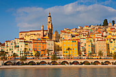 Menton, France, Europe, Côte dAzur, Provence, Alpes_Maritimes, sea, Mediterranean Sea, beach, seashore, town, city, Old Town, houses, homes, church, palms, morning light