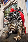 Asia, China, Hong Kong, Hongkong, Kowloon, Wong Tai Sin Temple, Temple, Temples, Religion Religious, Taoism, Taoist, Dragon, Dragons, Dragon Statue, Dragon Statues, Ribbon, Bow, Tourism, Holiday, Vacation, Travel