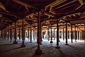 world heritage, Itchan Kala, Friday, Khiva, Khorezm, Region, Uzbekistan, Central Asia, Asia, architecture, city, dark, history, interior, mosque, pray, religion, touristic, travel, unesco, wood