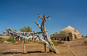 Ancient, Kyz- Kala, Merv, Turkmenistan, Central Asia, Asia, archaeology, architecture, cloths, colourful, culture, faith, hanging, history, religion, touristic, tradition, travel, tree