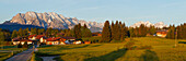 Kruen, village near Mittenwald with Karwendel and Wetterstein mountains in the background, Zugspitze, Spring, Werdenfelser Land, Baverian Alps, Upper Baveria, Bavaria, Germany, Europe