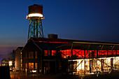 Germany, Europe, Bochum, Ruhr area, Westphalia, North Rhine-Westphalia, century hall, night, illumination, industrial hall, event hall, concert hall, theater, industrial monument, industrial culture, ironworks,