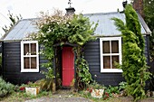 Old cottage with roses over doorway, Waikari, North Canterbury, New Zealand