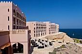 Outdoor patio at the Barr Al Jissah resort near Muscat, Oman.