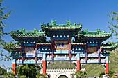 Decorative Chinese gate at the Great Wall of China, Jinshanling section, Beijing, China