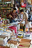 A street produce market in Shanghai, China, Asia.