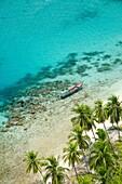 Aerial view of fisherman in boat over coral reef at Kuna Yala  San Balas archipelago, Central America , Panama