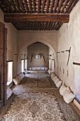Living room in Nakhl Fort, Nakhl, Al Batinah South Governorate, Oman.