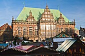 View over the christmas market with the town hall in the background, Bremen, Germany, Europe