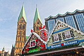 View over the christmas market with the cathedral St. Petri and the Parliament building, Bremen, Germany, Europe
