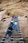 Cortez, Colorado - A park ranger watches as visitors climb a ladder to enter the Balcony House cliff dwelling at Mesa Verde National Park  The park features cliff dwellings of ancestral Puebloans that are nearly a thousand years old