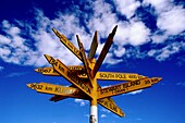 A sign pointing to several international destinations found at the southern most tip of the South Island New Zealand