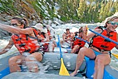 Rafting the Cabarton section on the North Fork of the Payette River which is Class 3 and near the city of Cascade in central Idaho