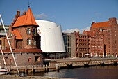 building of the Maritime pilots and Ozeaneum at the harbour of the Hanseatic City of Stralsund, Mecklenburg-Vorpommern, Germany