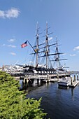 USS Constitution the oldest commissioned US Naval vessel docked at the Charlestown Navy Yard in historic Boston Massachusetts USA
