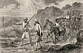 Mungo Park, 1771 to 1806, Scottish explorer, during his exploration of the African continent in 1795  From The Life and travels of Mungo Park published 1875