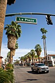 Intersection of La Plaza and North Palm Canyon Drive in Palm Springs, CA