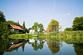 House along the Wakenitz river, area so called Amazona of the North, Luebeck, Schleswig-Holstein, Germany
