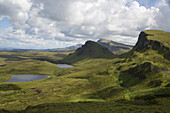 the Quiraing with mountains and lakes, Skye, Scotland.