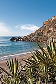 Cala Cortina beach just outside the city of Cartagena in the region of Murcia, Costa Calida, Southeastern Spain