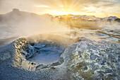 Landscape of geothermal hot springs, mud pots and fumaroles, Namaskard by Lake Myvatn, Northern, Iceland.