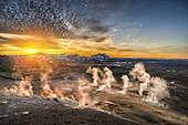 Geothermal hot springs, mud pots and fumaroles, Namaskard close to Lake Myvatn, Northern, Iceland.