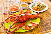 Prepared langouste on a plate, Gili Air, Lombok, Indonesia