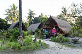 Huts of a vacation resort, Gili Lumbung, Gili Air, Lombok, Indonesia