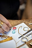 Goldsmith making jewellery, handicraft, Ueberlingen, Lake Constance, Baden-Wuerttemberg, Germany