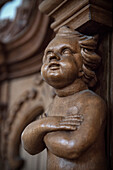 wooden carved angel in Beuron Monastry, Sigmaringen, Swabian Alb, Baden-Wuerttemberg, Germany