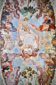 Baroque ceiling fresco in the monastry library, Wiblingen Monastry, Ulm at Danube River, Swabian Alb, Baden-Wuerttemberg, Germany
