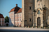 Entrance portal to baroque monastry and church, Wiblingen Monastry, Ulm at Danube River, Swabian Alb, Baden-Wuerttemberg, Germany