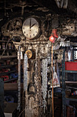 Blacksmiths workshop with miscellaneous tools and chains, Vellberg, Schwaebisch Hall, Baden-Wuerttemberg, Germany