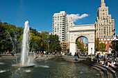 Washington Square Arch in Washington Square Park, Manhattan, New York, USA