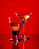Two cocktails on a red background, Cocktail, Drink