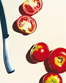 Tomaten und Messer, Gemüse, Essen, Lenensmittel, Nutrition