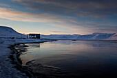 Snowy landscape in Spitzbergen, Svalbard, Norway