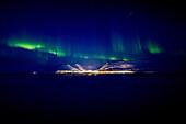 Aurora borealis over Longyearbyen, Spitzbergen, Svalbard, Norway