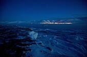 Nightview of Longyearbyen, Spitzbergen in March, Spitzbergen, Svalbard, Norway