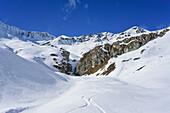 Downhill tracks at Monte Salza, Monte Salza, Valle Varaita, Cottian Alps, Piedmont, Italy