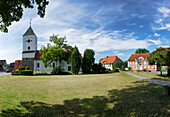 Market square and Church in Rhinow, Brandenburg, Germany